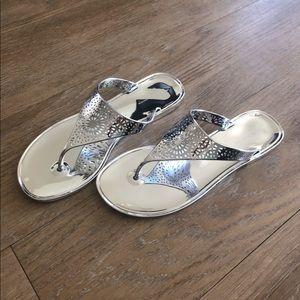 NEW BCBGeneration Flip Flop Sandals silver size 6M